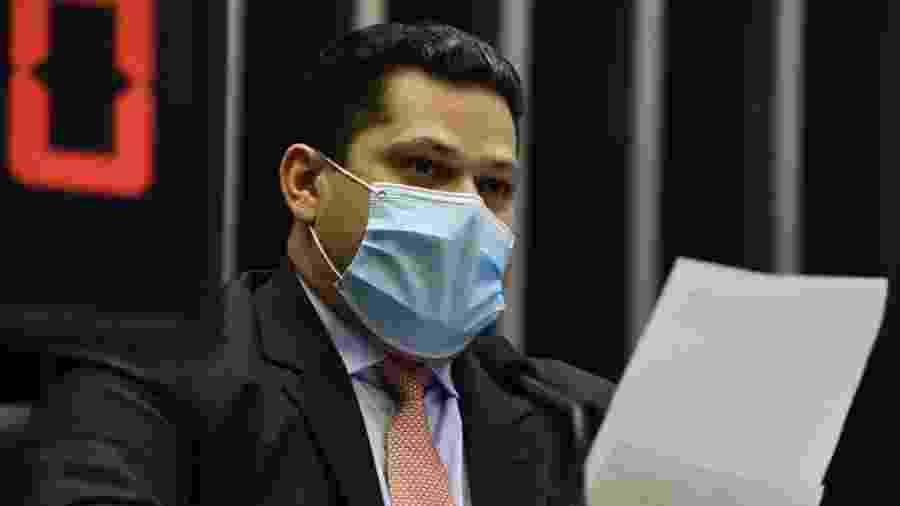 13.mai.2020 - O presidente do Senado, Davi Alcolumbre (DEM-AP), durante sessão remota do Congresso Nacional (para deputados) - Edilson Rodrigues/Agência Senado