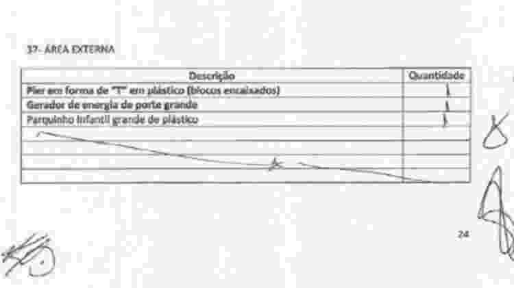 """Página do """"Auto de Despejo"""", assinado em agosto de 2016, em que o gerador é o segundo ítem relacionado na """"área externa"""" do prédio onde funcionou o Bar do Alemão - Reprodução - Reprodução"""