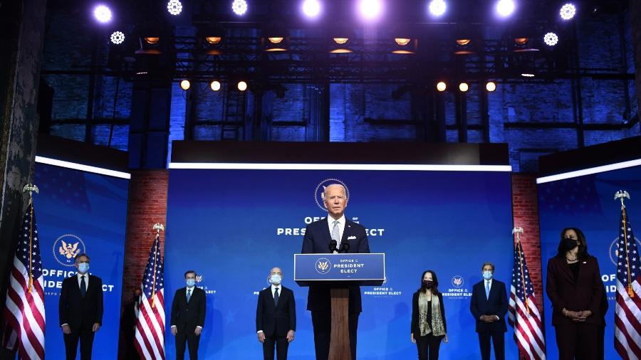 24.nov.2020 - Joe Biden fala durante um evento de anúncio do gabinete em Wilmington - Chandan Khanna/AFP