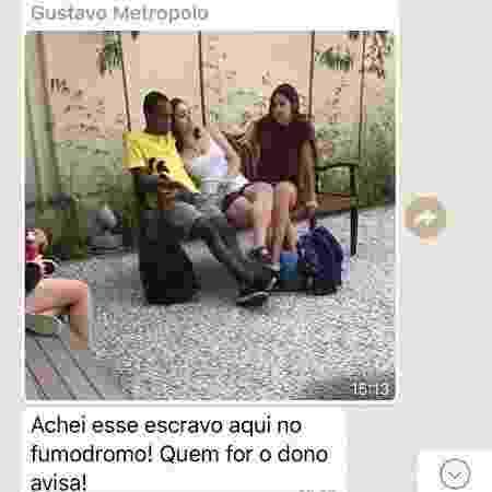 Foto e mensagem de whatsapp com mensagem racista enviada em grupo de estudantes da FGV chama estudante de escravo - Reprodução - Reprodução