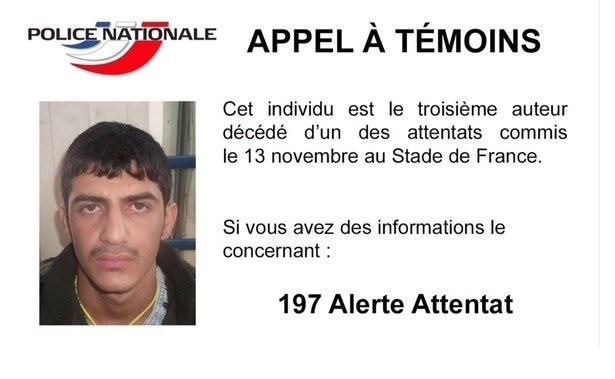 22.nov.2015 - Polícia francesa lança apelo para identificar terceiro terrorista suicida que cometeu atentado no Stade de France, em Saint-Denis, ao norte de Paris, no dia de 13 de novembro de 2015