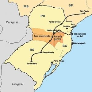 O mapa de onde aconteceu a Guerra do Contestado, no Sul do Brasil - Arte