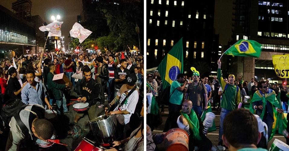 11 DE MAIO DE 2016 - Grupos favoráveis e contrários ao impeachment da presidente Dilma Rousseff se organizaram em atos em cidades do Brasil e do mundo -- sem estimativa de público -- no dia em quem os senadores votaram pela admissibilidade do pedido. Em sessão que durou 20 horas e meia e terminou só na manhã do dia 12 de maio, os parlamentarem aceitaram abrir um processo para a saída de Dilma, o que a afastou temporariamente do cargo