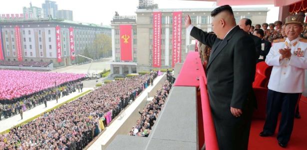 Líder norte-coreano Kim Jong-Un em parada militar de Pyongyang