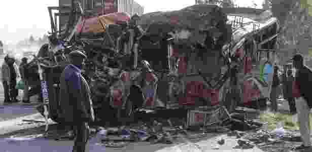 O local do acidente em Nairóbi - STR/AFP