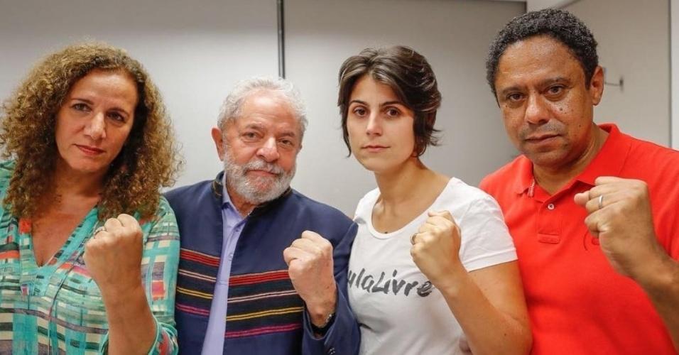 Lula recebe apoio da deputada federal Jandira Feghali (PCdoB/RJ), a pré-candidata à presidência da República pelo PCdoB, Manuela D'ávila, e do líder do PCdoB na Câmara, Orlando Silva (SP)