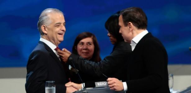16.ago.2018 - Os candidatos João Doria e Márcio França durante o debate entre os candidatos ao Governo de São Paulo promovido pelo Grupo Bandeirantes de Comunicação