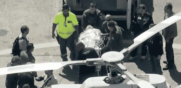 Bolsonaro foi transferido de avião para helicóptero da PM no Aeroporto de Congonhas, em SP, antes de seguir para o Hospital Albert Einstein, na capital - Reprodução/Globo News