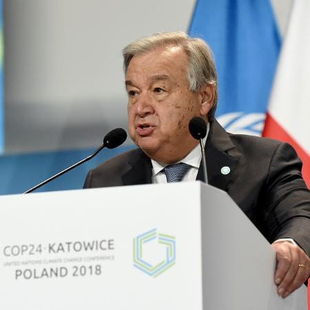 3.dez.2018 - O secretário-geral da ONU, Antonio Guterres, na abertura da COP-24 - Janek Skarzynski/AFP