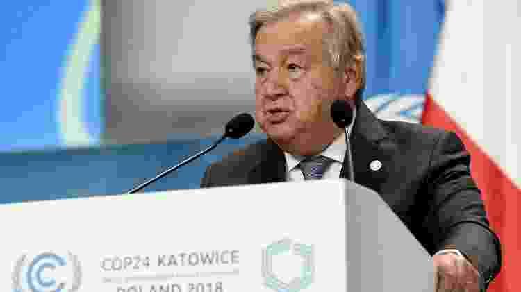 O secretário-geral da ONU, Antonio Guterres, na abertura da COP-24, nesta segunda-feira (3), na Polônia - Janek Skarzynski/AFP