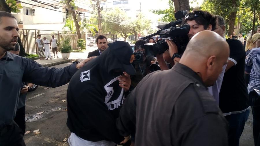 O PM Rodrigo Jorge Ferreira, o Ferreirinha, que admitiu falso testemunho no caso Marielle, se apresentou hoje à polícia - Igor Mello/UOL