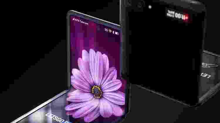 Renderização que mostra como seria o Galaxy Z Flip - Reprodução - Reprodução