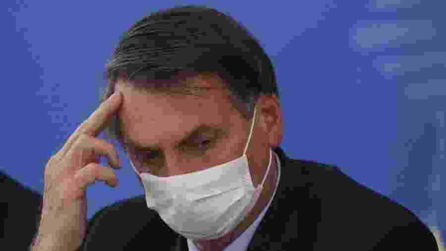 20.mar.2020 - O presidente Jair Bolsonaro em coletiva sobre o novo coronavírus - Andre Coelho/Getty Images