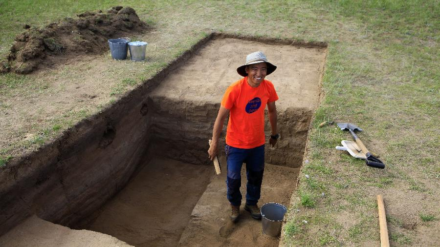 07.jun.2020 - Arqueólogos israelenses revelam trecho esquecido da Grande Muralha da China - The Hebrew University of Jerusalem / AFP