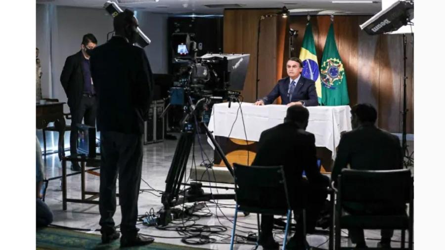 Bolsonaro durante gravação de pronunciamento à ONU - Marcos Correa/Divulgação