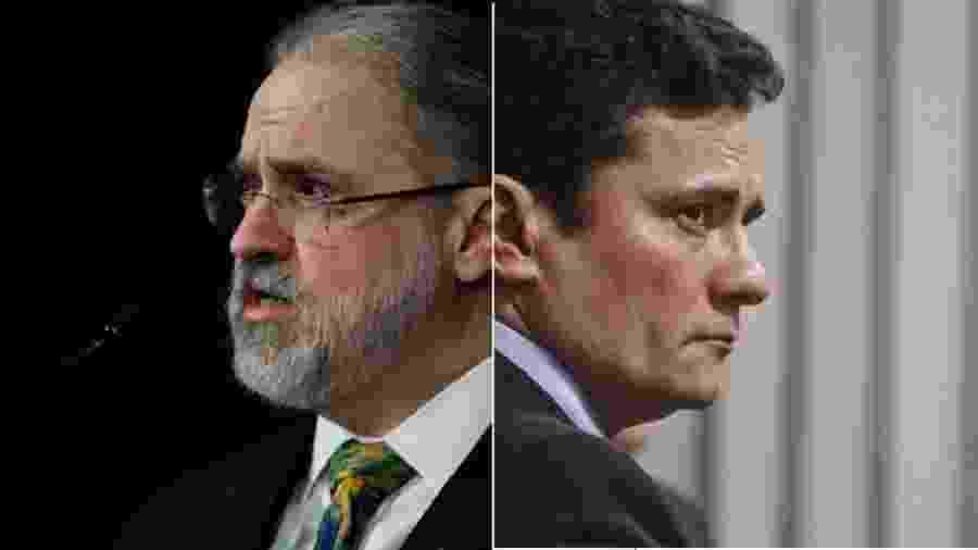 Augusto Aras e Sergio Moro: como fiscal maior do cumprimento da lei, procurador-geral da República tem de mandar investigar a contratação do ex-juiz pela empresa americana Alvarez e Marsal - Reprodução; Marcos Oliveira/Agência Senado