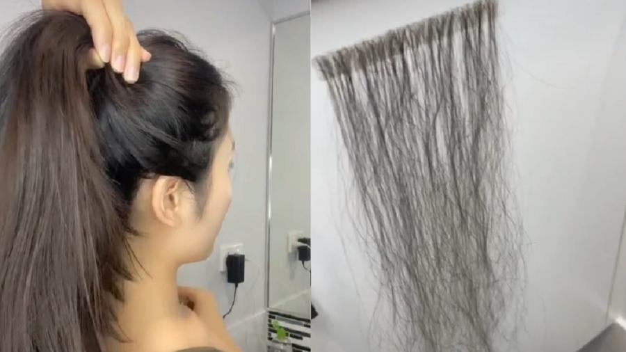 Mulher faz extensão para cabelo com fios caídos e viraliza - Reprodução/Tiktok