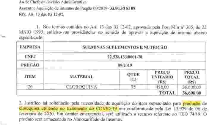 Documento do Exército mostra que produção de cloroquina foi aumentada para combate à Covid-19, e não à malária - Reprodução - Reprodução