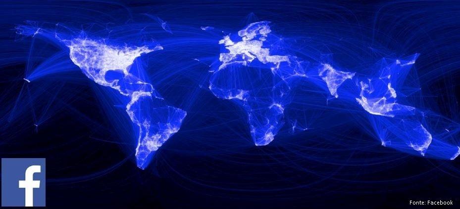 Interações no Facebook: O mapa mostra os dados de amigos conectados pelo Facebook. O alcance global da rede social chega a 1,5 bilhão de usuários ativos por mês, número equivalente à população da China