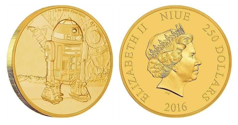 Moeda de 250 dólares de Niue, ilha no Pacífico que é um território associado da Nova Zelândia, estampada com o robô R2-D2; a edição faz parte de uma série especial em homenagem à saga Star Wars