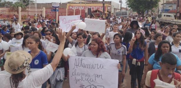 Moradores fazem protesto por paz em Altamira (PA) após a morte do secretário do meio ambiente Luiz Araújo