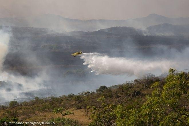 Incêndio florestal na Chapada dos Veadeiros, em Goiás