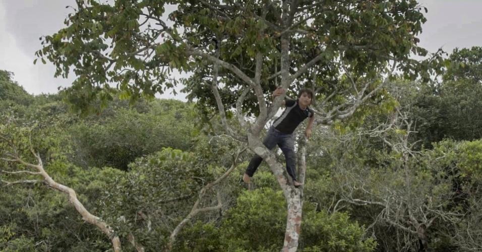 Criança indígena de Piaçaguera sobe em árvore; preocupação de especialistas é com o impacto ambiental da proposta de instalar uma termelétrica na região