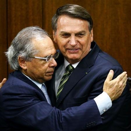 O ministro da Economia, Paulo Guedes, e o presidente Jair Bolsonaro - Marcelo Camargo/Agência Brasil