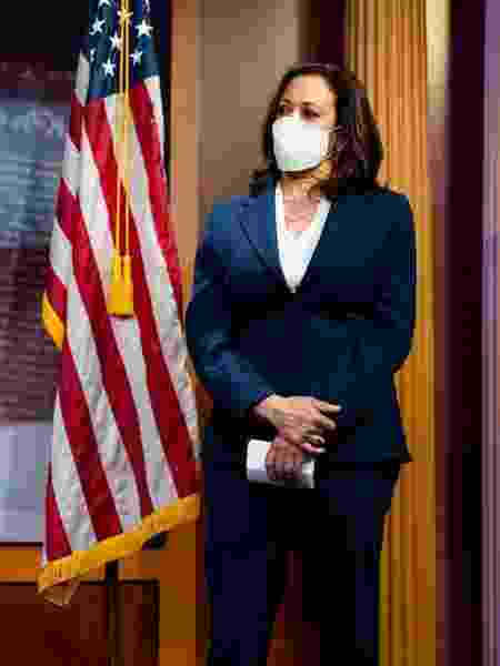 02.jun.2020 - A senadora Kamala Harris durante conferência dos senadores democratas dos Estados Unidos - Getty Images - Getty Images