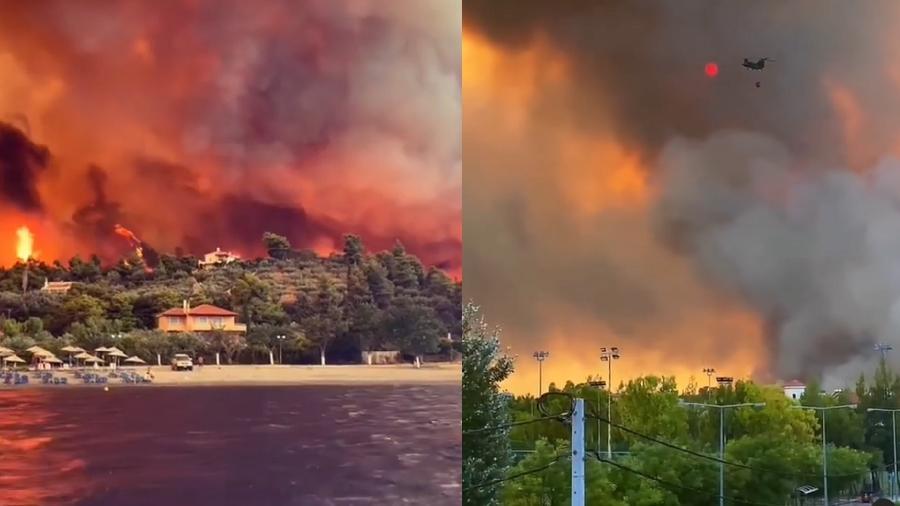 Ao menos 150 casas foram queimadas em incêndio na Grécia - Reprodução/Instagram