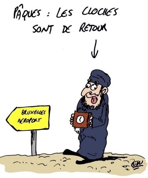 """22.mar.2016 - O cartunista francês Bidu divulgou uma série de charges sobre o ataque terrorista desta terça-feira na Bélgica. Neste, ele diz """"É Páscoa: os sinos estão de volta"""""""