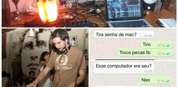 DJ Gustavo 'Zubreu' em ação, parte do material furtado e troca de mensagens com receptador: desfecho improvável para história que costuma ficar sem solução
