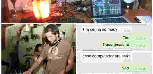 """DJ Gustavo """"Zubreu"""" em ação, parte do material furtado e troca de mensagens com receptador: desfecho improvável para história que costuma ficar sem solução - Arquivo pessoal"""