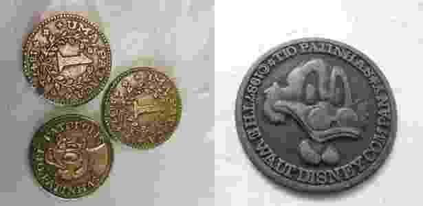 Moedas colecionáveis do Tio Patinhas de 1972 (à esq.) e de 1987 - Reprodução - Reprodução