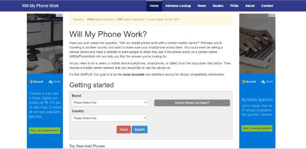"""Por meio do site """"Will My Phone Work"""" é possível checar, de maneira rápida e prática, se o celular desejado irá funcionar quando você voltar de viagem - Reprodução"""