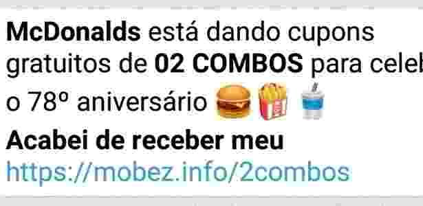 """Falsa promoção do McDonald""""s circula no WhatsApp - Reprodução"""