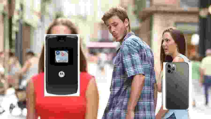 Meme compara Motorola Razr e iPhone - Reprodução