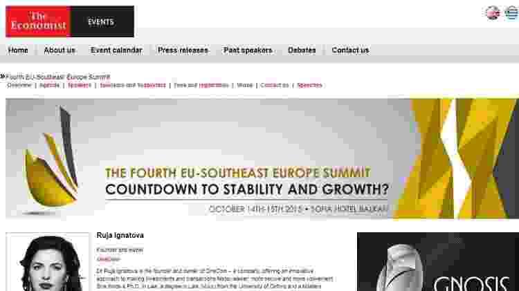 Ruja Ignatova foi parte de um seminário da revista The Economist, o que lhe deu credibilidade perante muitos investidores - BBC - BBC