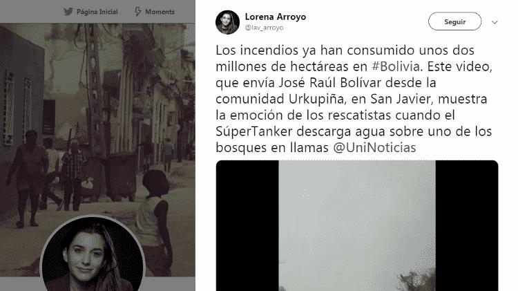 11.dez.2019 - Post de jornalista boliviana credita vídeo a empresário local - Reprodução/Twitter