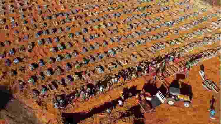 Cemitério em Manaus com vala coletiva aberta por conta dos mortos por covid-19 - Foto:Michael Dantas/AFP - Foto:Michael Dantas/AFP
