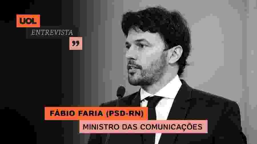 Fábio Faria, ministro das Comunicações, no UOL Entrevista (29/10/20) - Arte/UOL