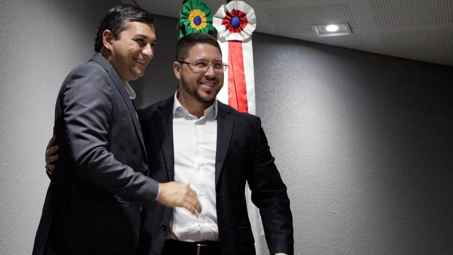 Governador Wilson Lima (PSC) e seu vice, Carlos Alberto Souza de Almeida Filho (PTB) - Sandro Pereira/Código19