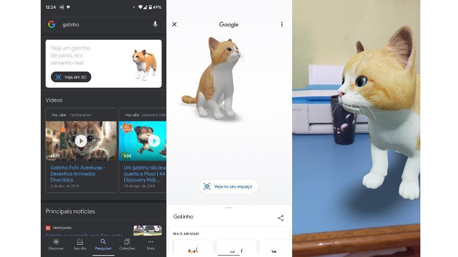 Gatinho 3D disponivel na busca do Google - Reprodução