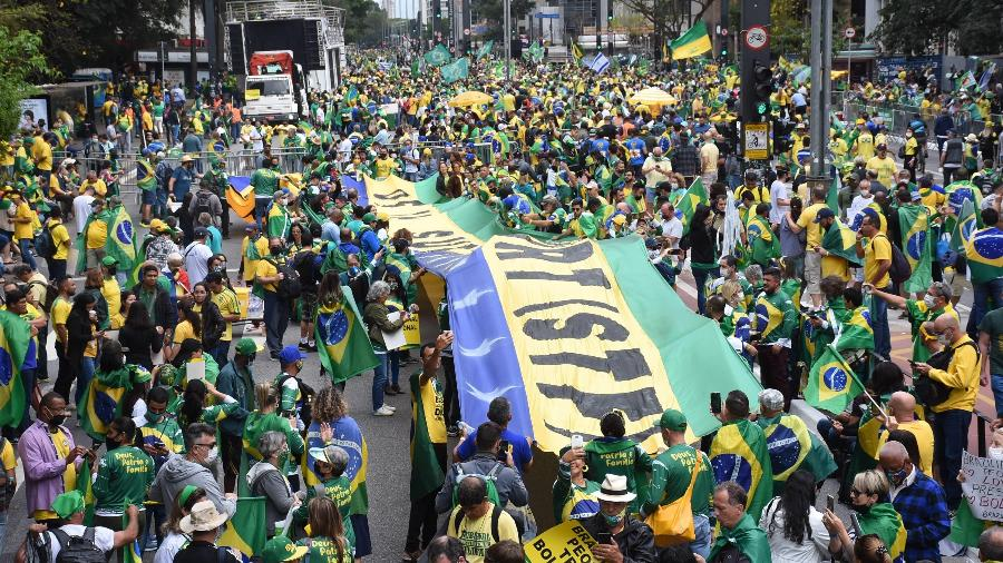 Protesto de Sete de Setembro a favor do presidente Jair Bolsonaro, na avenida Paulista, em São Paulo - CELSO LUIX/ESTADÃO CONTEÚDO
