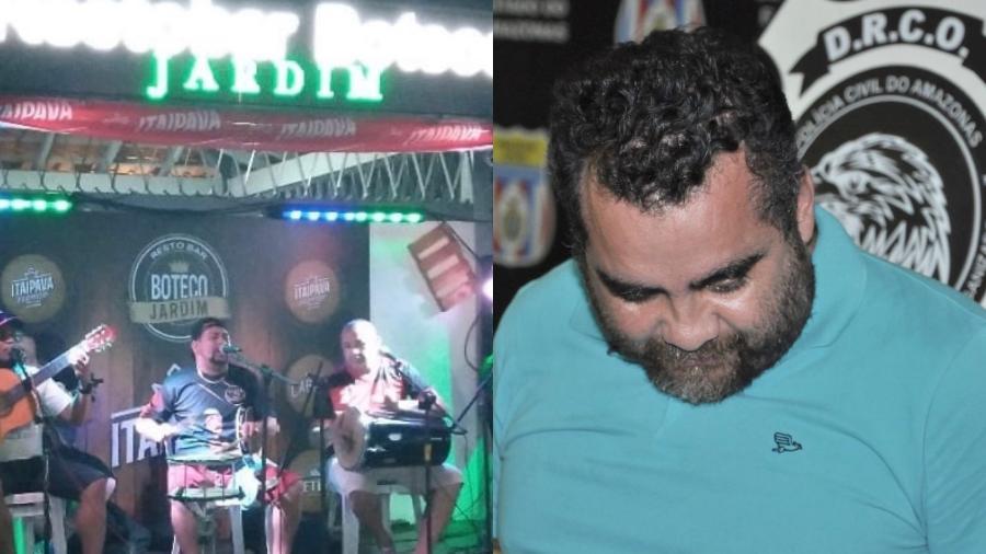 Público viu quando banda se surpreendeu com os tiros, durante transmissão ao vivo realizada no bar - Reprodução/ Instagram/ Erlon Rodrigues/ Polícia Civil do Amazonas