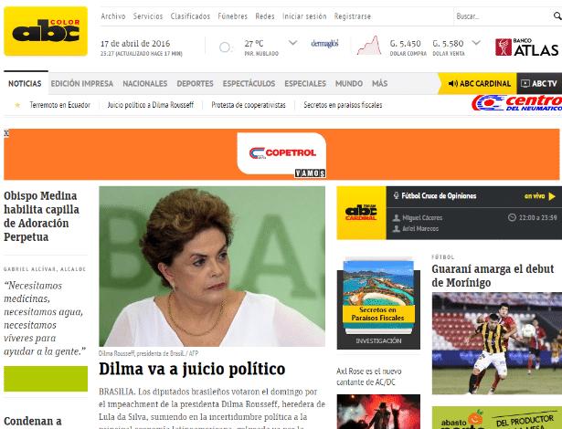 """O jornal paraguaio """"ABC Color"""" destaca a votação do impeachment da presidente Dilma Rousseff (PT) em sua página principal"""