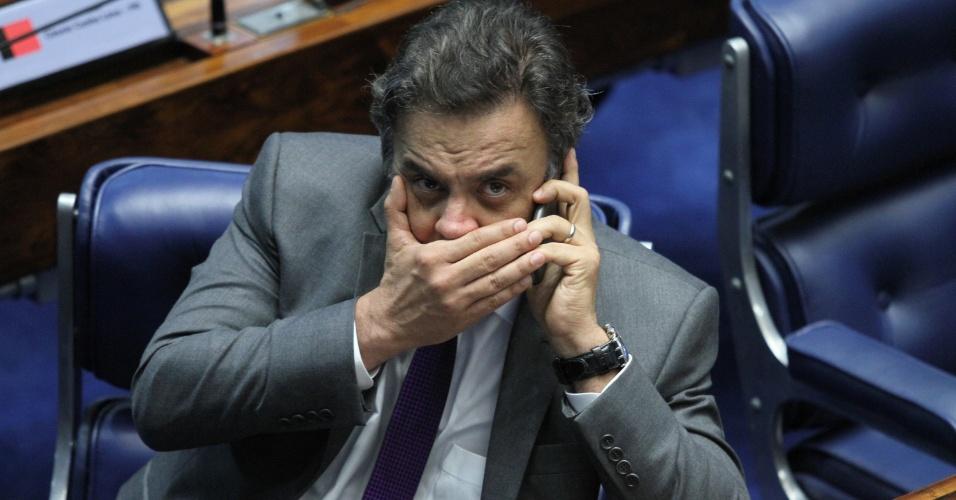 15.jun.2016 - O presidente nacional do PSDB, senador Aécio Neves (MG), participa de sessão do Senado, no dia em que foi citado nominalmente como beneficiário de propina, segundo delação de Sérgio Machado, ex-presidente da Transpetro