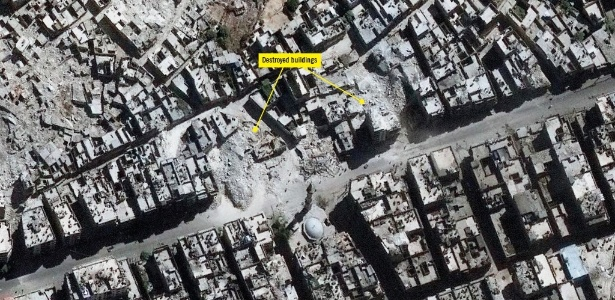 Imagem de satélite de setembro de 2016 mostra prédios destruídos em Aleppo, Síria