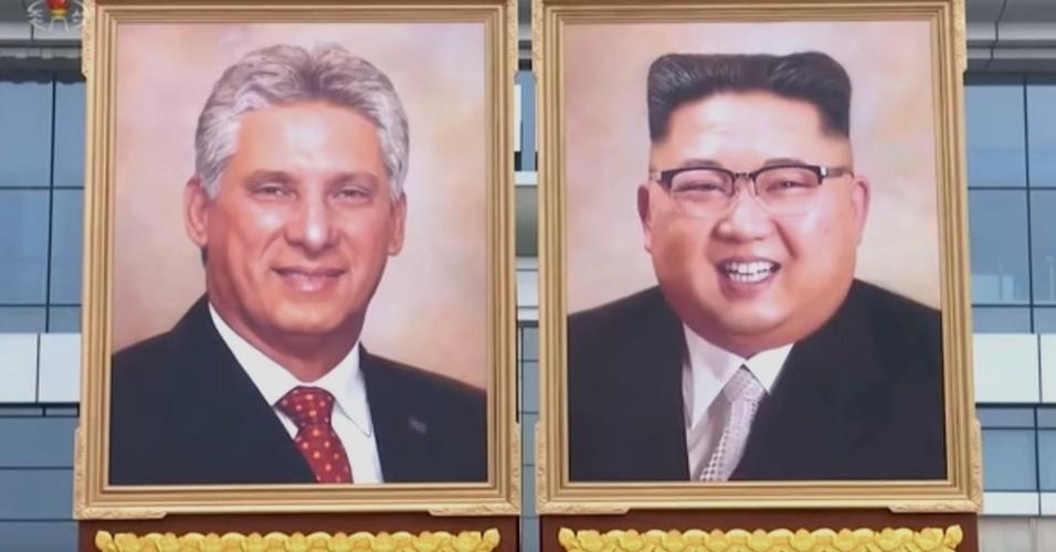 Primeiro retrato de Kim Jong-un (à dir) foi exibido ao lado do feito em homenagem ao presidente cubano, Miguel Díaz-Canel
