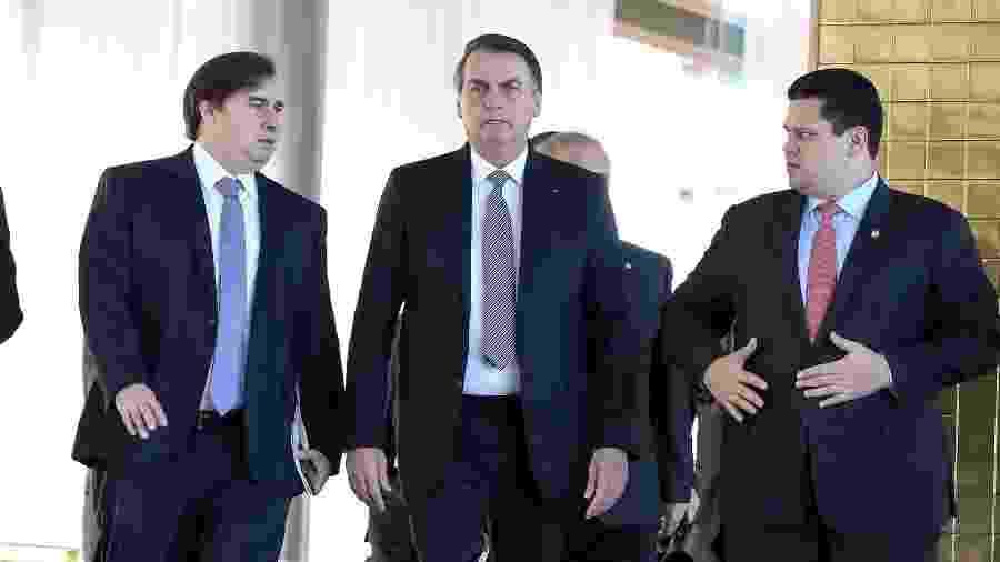 O presidente Jair Bolsonaro com os presidente do STF, Dias Toffoli, da Câmara, Rodrigo Maia, e do Senado, Davi Alcolumbre - Marcos Corrêa- 28.mai.2019/PR